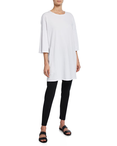 French-Terry 3/4-Sleeve Raw-Edge Pocket Tunic and Matching Items