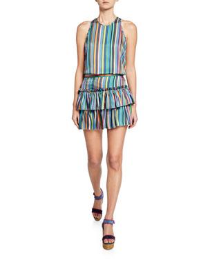 37fd9b1887 Milly Marie Rainbow Stripes Halter Tank Rainbow Stripes Tiered Twill Mini  Skirt