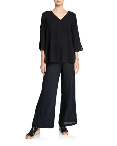 Havana V-Neck 3/4-Sleeve Crinkle Cotton Top and Matching Items