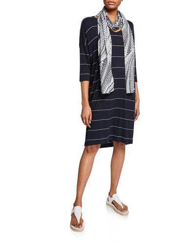 Nebine Striped V-Neck 3/4-Sleeve Jersey Dress and Matching Items