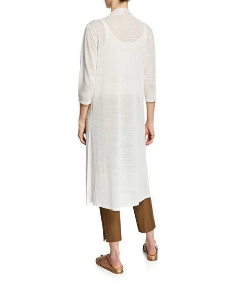 Eileen Fisher Fine Crepe 3/4-Sleeve Linen Cardigan