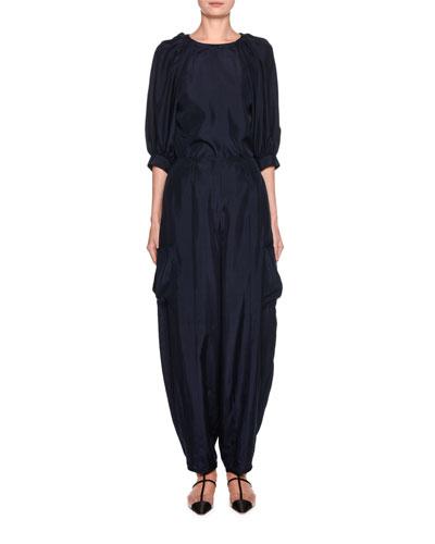 Silk Habutai Puff-Sleeve Blouse and Matching Items