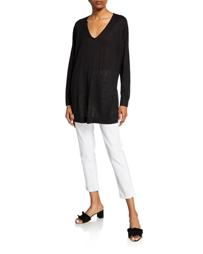V-Neck Long-Sleeve Organic Linen/Cotton Tunic Sweater and Matching Items