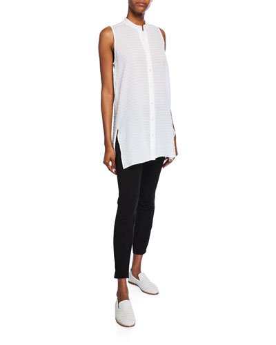 Organic Cotton Voile Sleeveless Button-Front Long Box Shirt and Matching Items