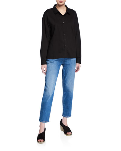 Button-Down Long-Sleeve Organic Cotton Twill Shirt and Matching Items