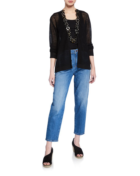Eileen Fisher V-Neck Button-Front Long-Sleeve Fine Crepe Cardigan