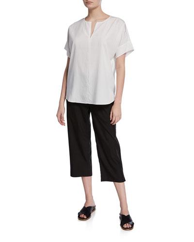 Slit-Neck Short-Sleeve Boxy Sandwash Tunic and Matching Items