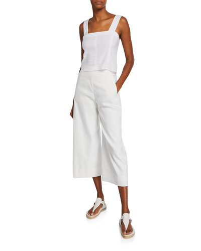 Wide-Strap Cropped Shell  White and Matching Items