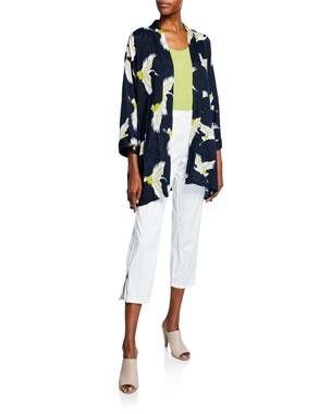 e7ec111638c6 Masai Josslyn Crane-Print Open-Front Shantung Kimono Jacket Elisa  Scoop-Neck Basic