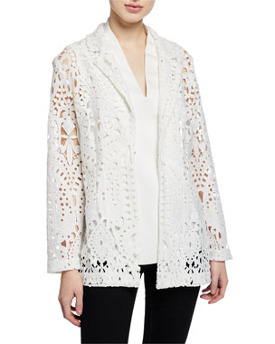 fa04f86900b Misook Plus Size Long-Sleeve Open Lace Blazer Plus Size Woven V-Neck Tank