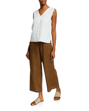 6587db386a1 Eileen Fisher V-Neck Button-Front Sleeveless Organic Linen Top Organic Linen  Wide-