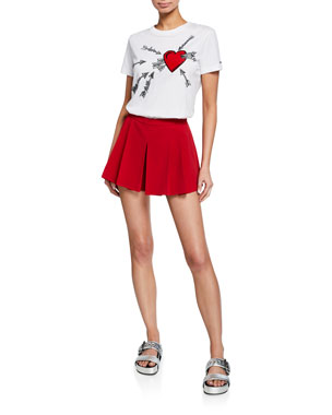 88529a99a45 REDValentino Heart   Arrows Embroidered Short-Sleeve Cotton Tee Pleated  Skort