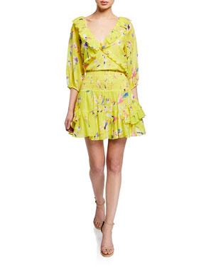 cd68ad5ed37 Tanya Taylor Lourdes Floral-Print V-Neck Half-Sleeve Ruffle Top Bryn Short