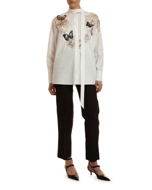 68d5b7dd66f0 Valentino Butterfly Lace-Inset Button-Front Shirt Cropped Crepe Trousers
