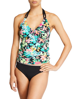 0406e9cd1d Tommy Bahama Fleur De Flora Reversible Tankini Swim Top Gingham Reversible  Hipster Swim Bottom