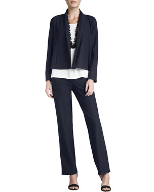 d837869c16f Eileen Fisher Plus Size Washable-Stretch Crepe Short Jacket Plus Size  Washable-Crepe Straight