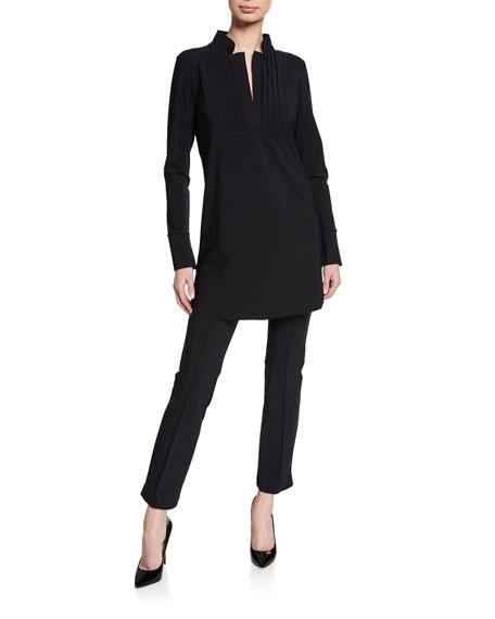 Chiara Boni La Petite Robe Ineta Spar Mandarin-Collar Long-Sleeve Shirt