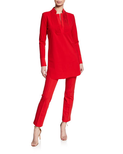 Ineta Spar Mandarin-Collar Long-Sleeve Shirt and Matching Items