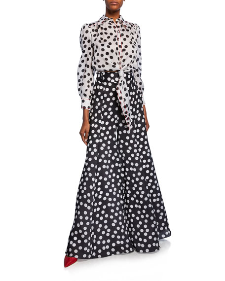 Carolina Herrera Polka-Dot Long-Sleeve Cropped Shirt