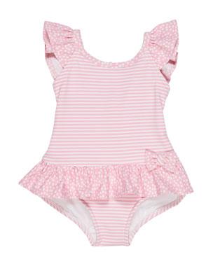 72e090bebb049 Florence Eiseman Stripes & Dots Ruffle-Trim One-Piece Swimsuit, Size 6-