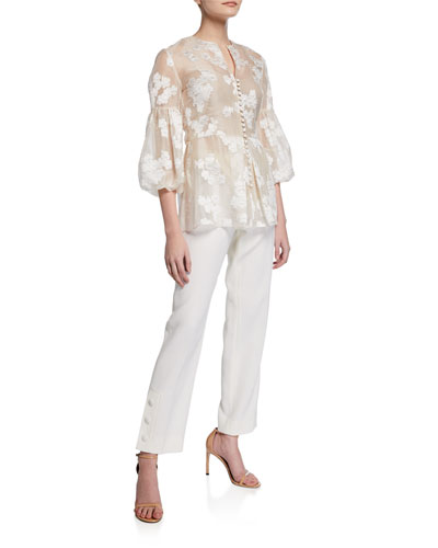 Full-Sleeve Button-Front Embroidered Top and Matching Items