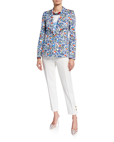 Stretch Ceramic-Print Cotton Blazer Jacket and Matching Items