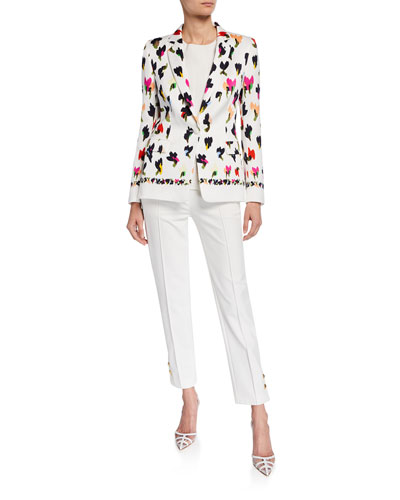 Abstract Floral-Print Hammered Blazer and Matching Items