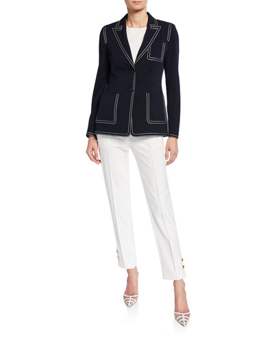 Contrast-Stitched Blazer Jacket and Matching Items