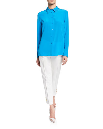 Stitched Georgette Button-Front Blouse and Matching Items