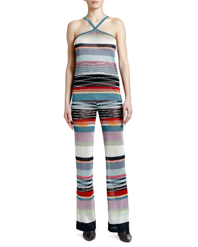 Shimmer Striped Crisscross Halter Top and Matching Items
