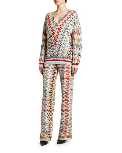 V-Neck Open Weave Space-Dye Sweater and Matching Items