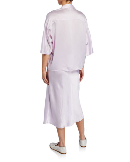 Vince Short-Sleeve Satin PJ Shirt