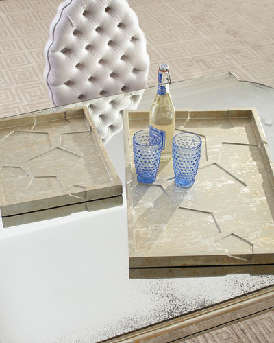 Silver Leaf Small Cosmo Tray  Champagne Silver  and Matching Items