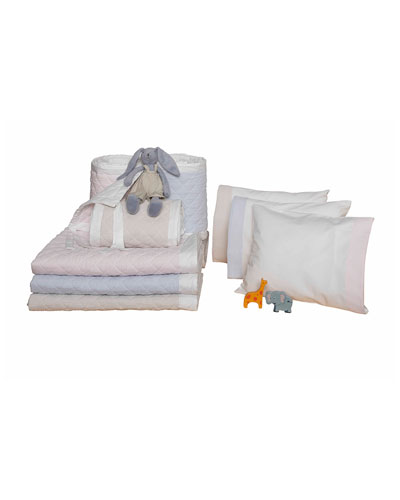 Baby Seersucker Crib Coverlet  White/Pink  and Matching Items