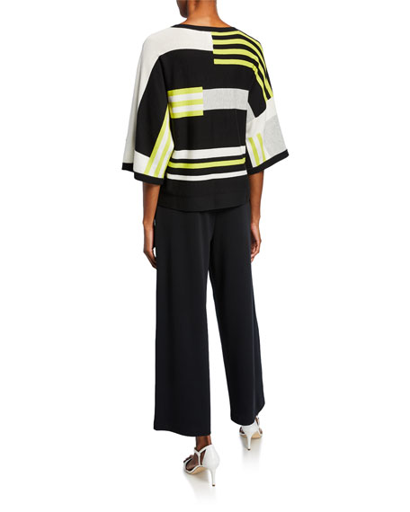 Joan Vass Multicolor Block-Stripe 3/4-Sleeve Cotton Sweater
