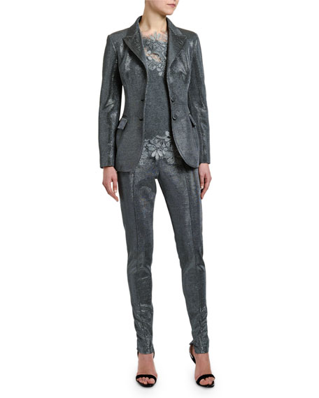 Ermanno Scervino Single-Breasted Two-Button Metallic Jacket