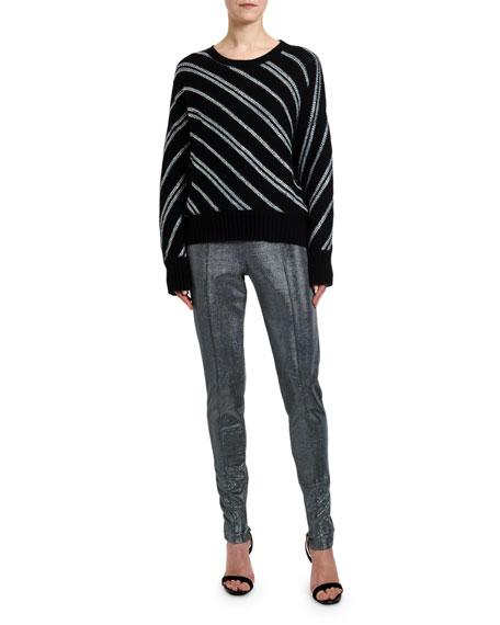 Ermanno Scervino Metallic Diagonal-Striped Sweater