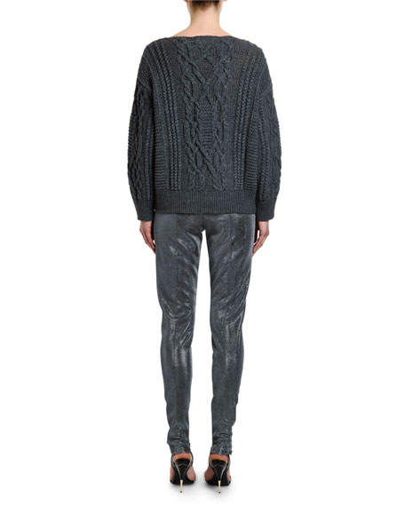 Ermanno Scervino Beaded Cable-Knit Sweater