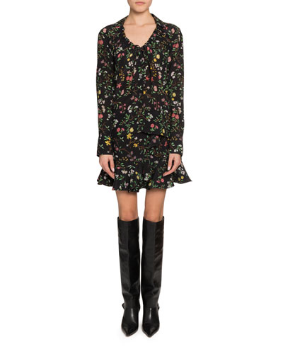 Bowie Floral Drawstring-Neck Blouse and Matching Items