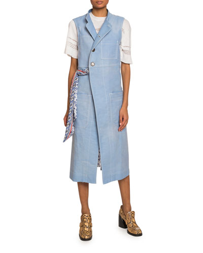 Scarf-Waist Button-Front Midi Vest and Matching Items