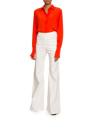 Crepe de Chine Button-Front Blouse and Matching Items