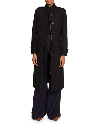 High-Neck Belted Button-Front Coat and Matching Items