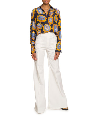 Medallion-Print Silk Button-Front Shirt and Matching Items