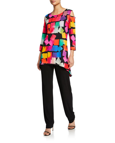 Kaleidoscope-Print Cold-Shoulder 3/4-Sleeve Tunic and Matching Items