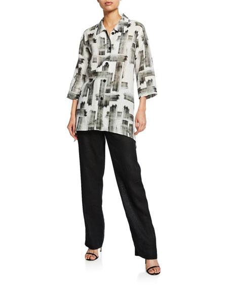 Caroline Rose Brushstroke Button-Front Tissue Linen Side-Fall Shirt