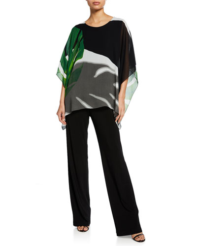 Palm-Print Short-Sleeve Georgette Caftan w/ Tank and Matching Items