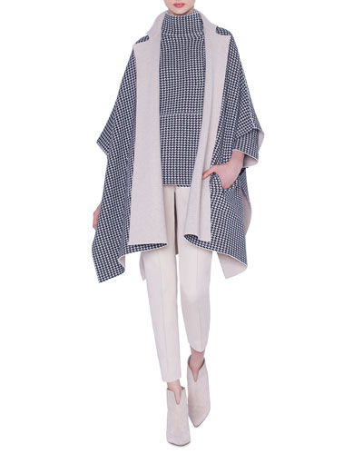 Reversible Cashmere Houndstooth-Jacquard Cape and Matching Items