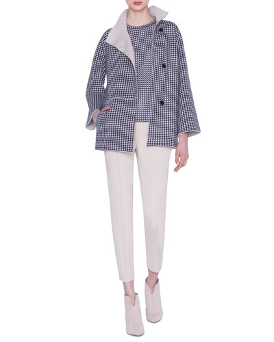 Cashmere-Silk Houndstooth Jacquard Sweater and Matching Items