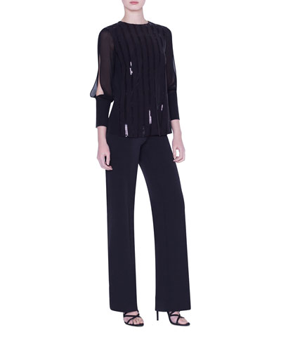 Sequined Silk Crepe Blouse and Matching Items