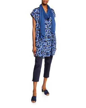 ae0a433194a Masai Hadeen Printed A-Shape Short-Sleeve Tunic Padme Stretch-Cotton Slim-